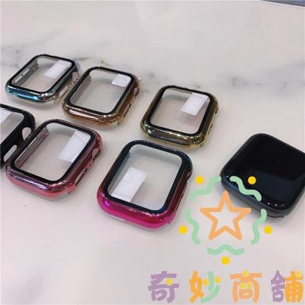 電鍍一體殼膜apple watch非全包硬殼手表保護殼鋼化膜潮【奇妙商鋪】
