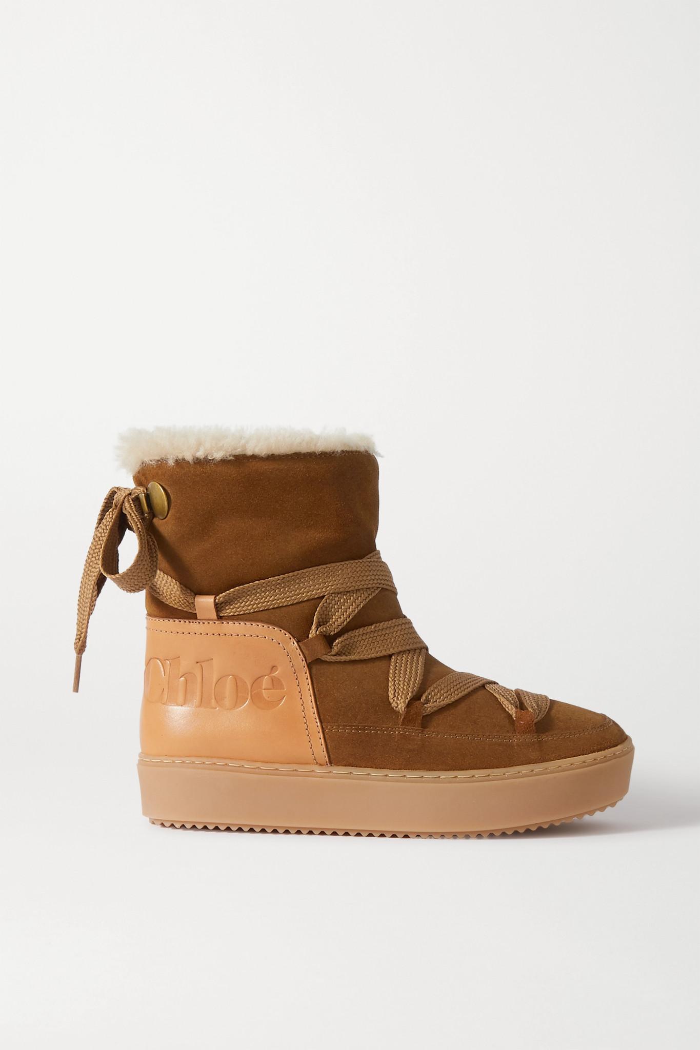 SEE BY CHLOÉ - 皮质边饰绒面革羊毛皮踝靴 - 棕色 - IT38