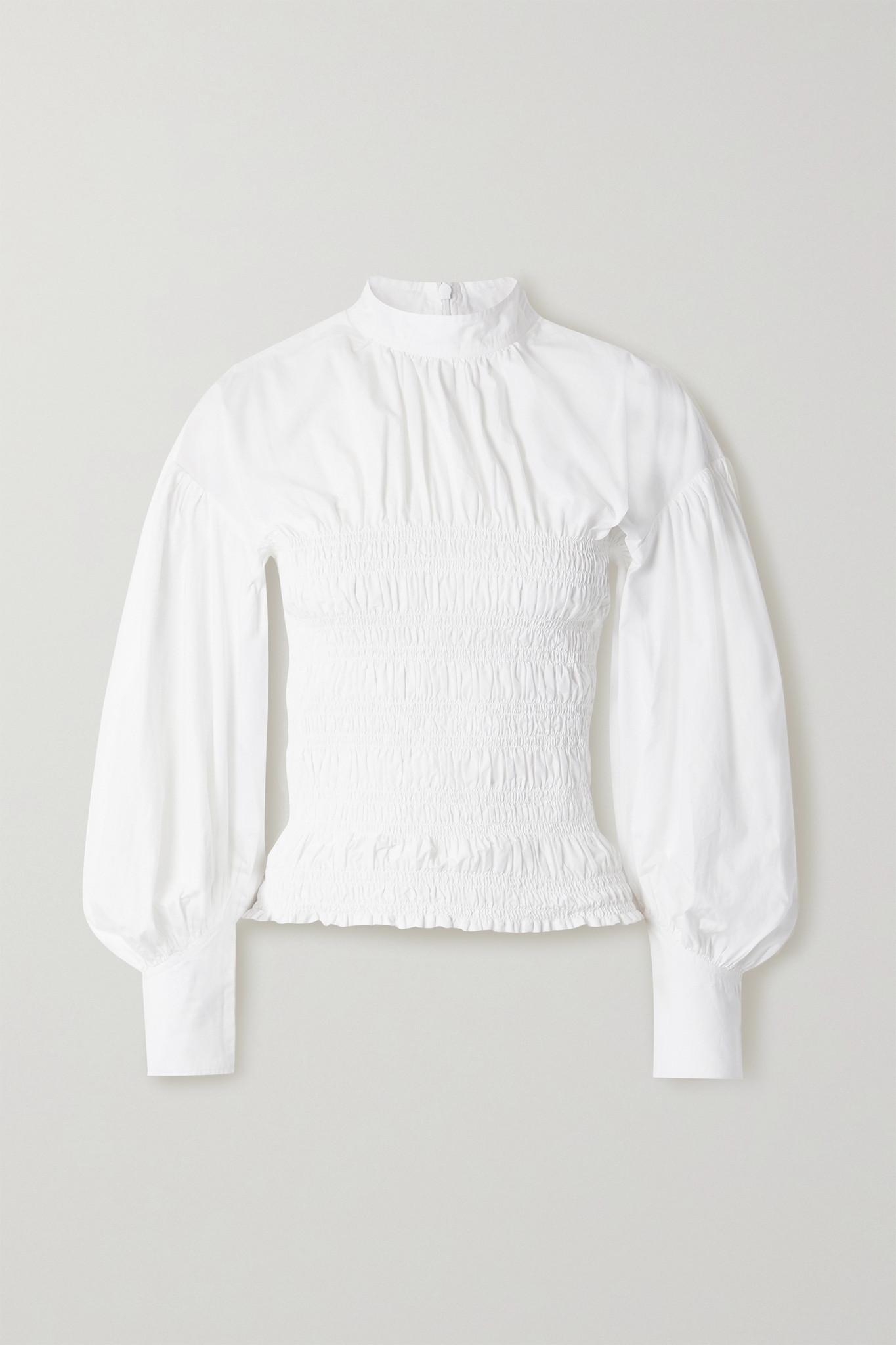 GANNI - Shirred Organic Cotton-poplin Blouse - White - DK36