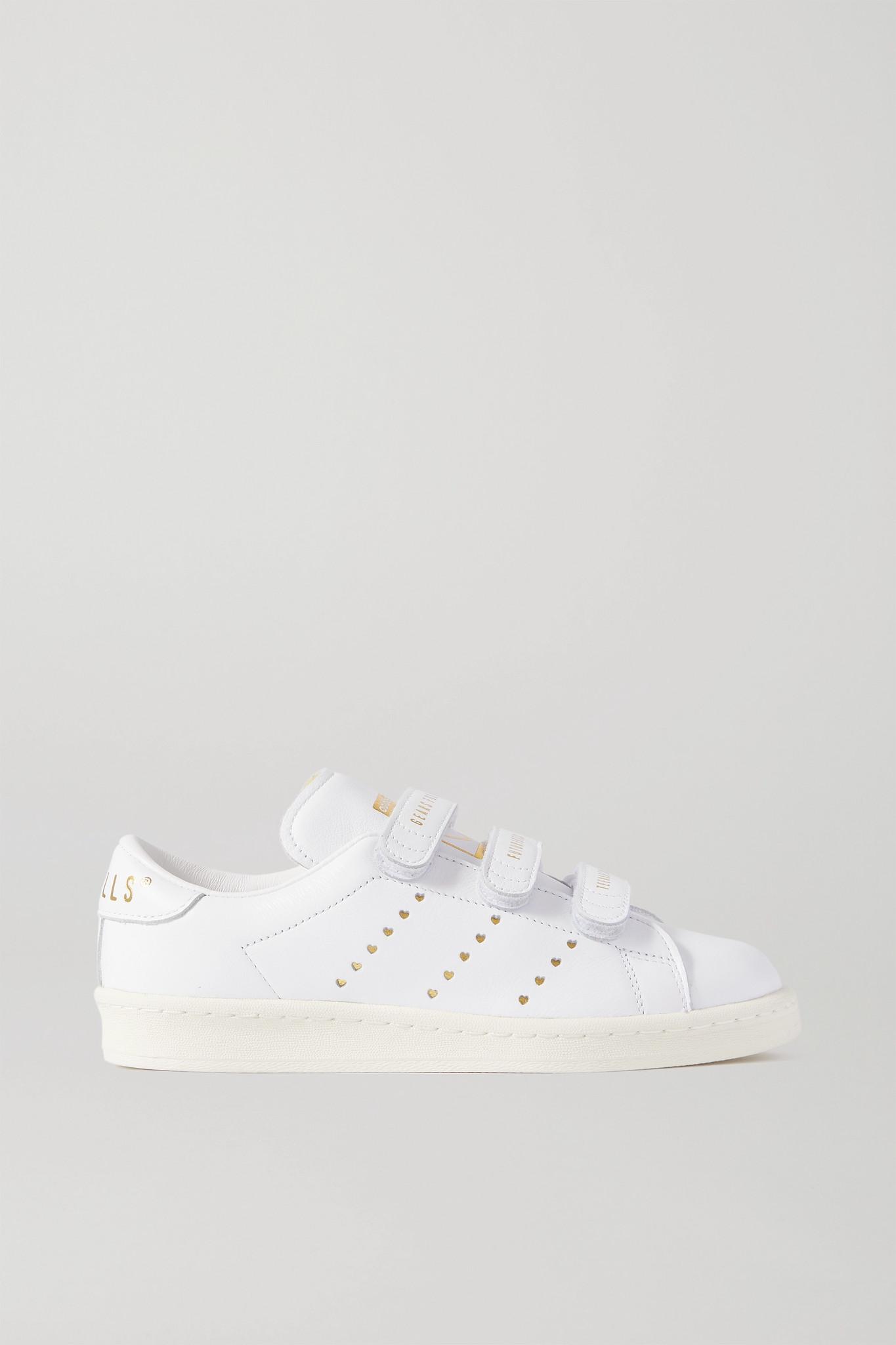 ADIDAS ORIGINALS - X Human Made 印花皮革运动鞋 - 白色 - UK3.5
