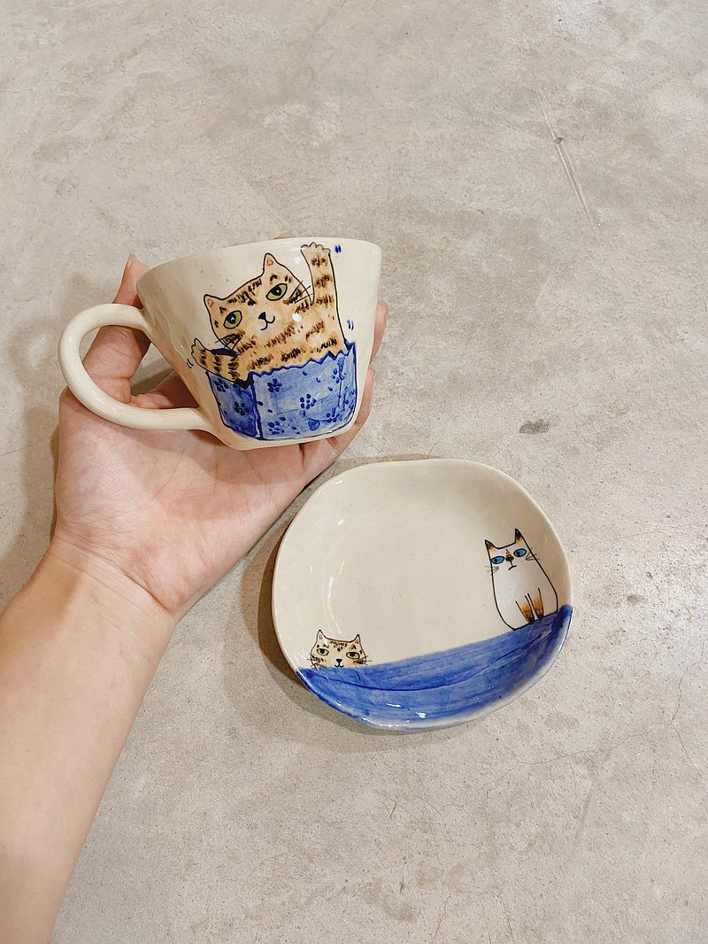 咖啡杯碟,泰國貓圖案/ Wichianmas貓圖案和Salid貓