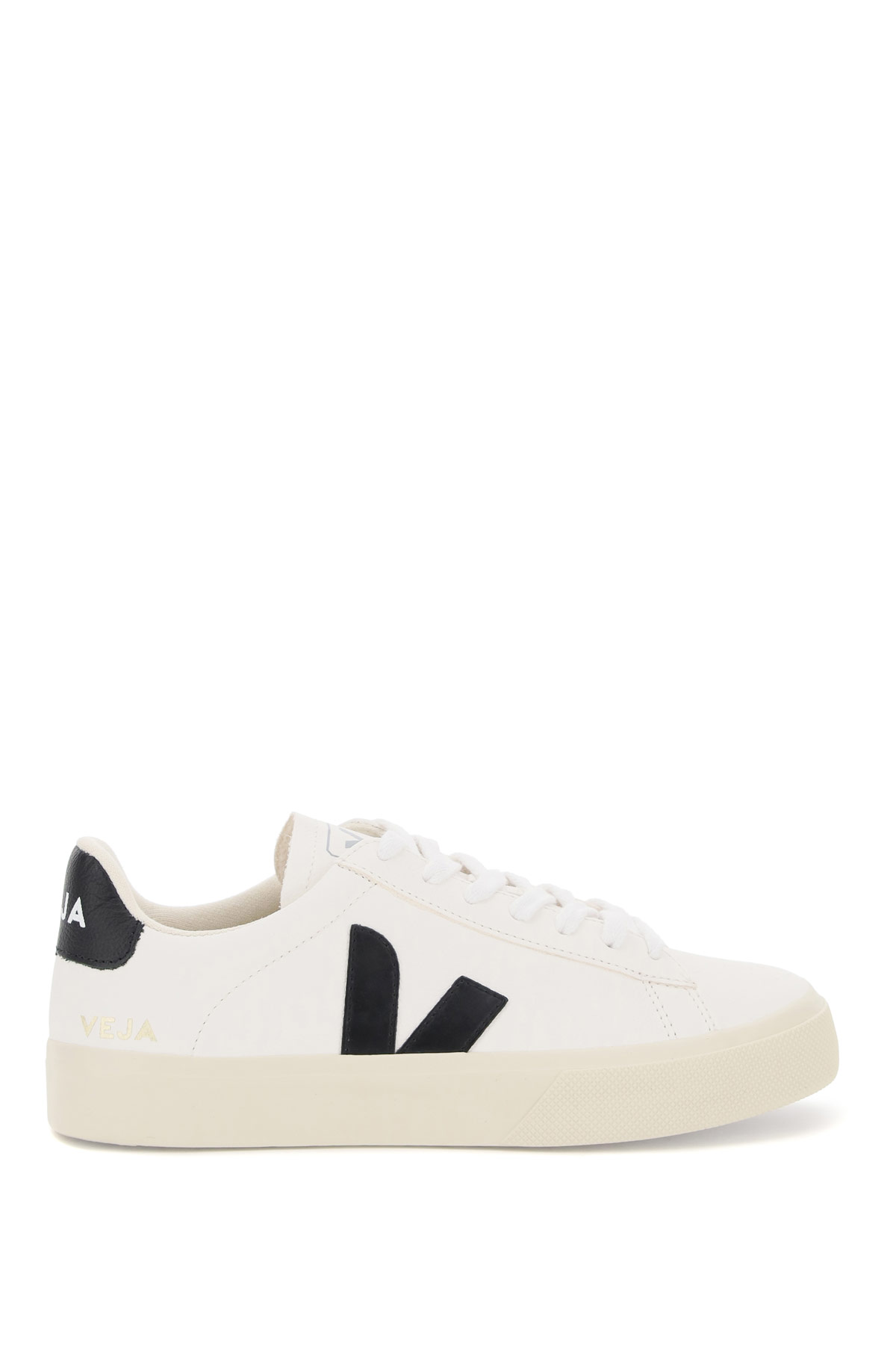 VEJA CAMPO CHROMEFREE LEATHER SNEAKERS 44 White, Black Leather