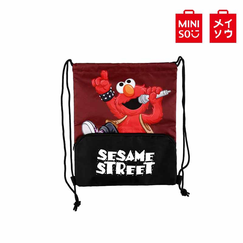 【MINISO名創優品】搖滾芝麻街拉繩袋(艾摩) Elmo 艾蒙 抽繩包包 抽繩背包