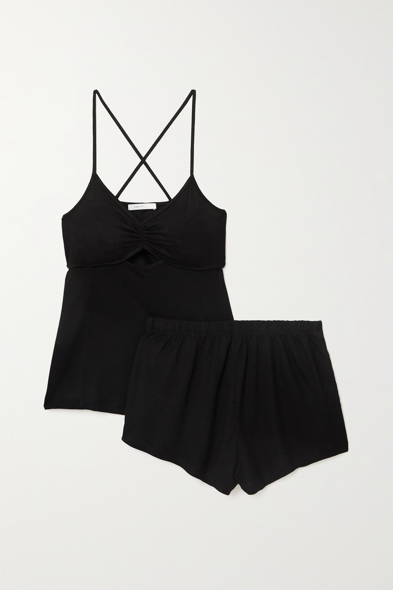 NINETY PERCENT - 【net Sustain】拉绒天丝睡衣套装 - 黑色 - small