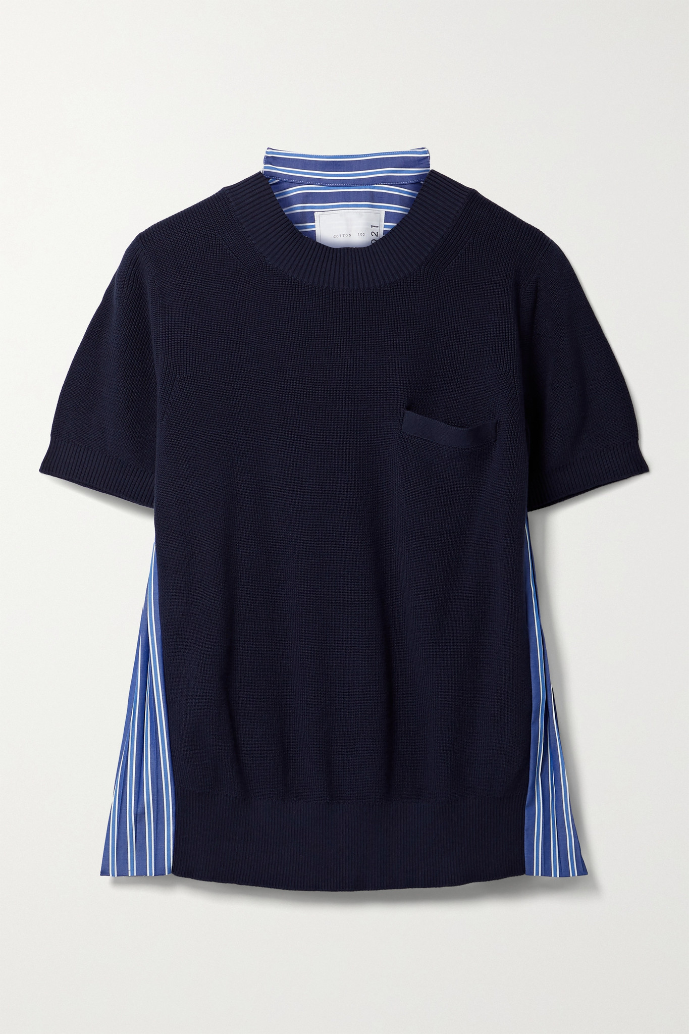 SACAI - Paneled Knitted And Pleated Striped Cotton-poplin T-shirt - Blue - 2