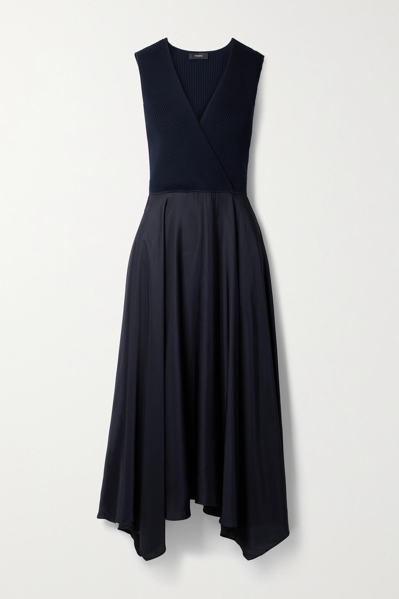 THEORY - Wrap-effect Ribbed-knit And Satin-twill Midi Dress - Blue - medium