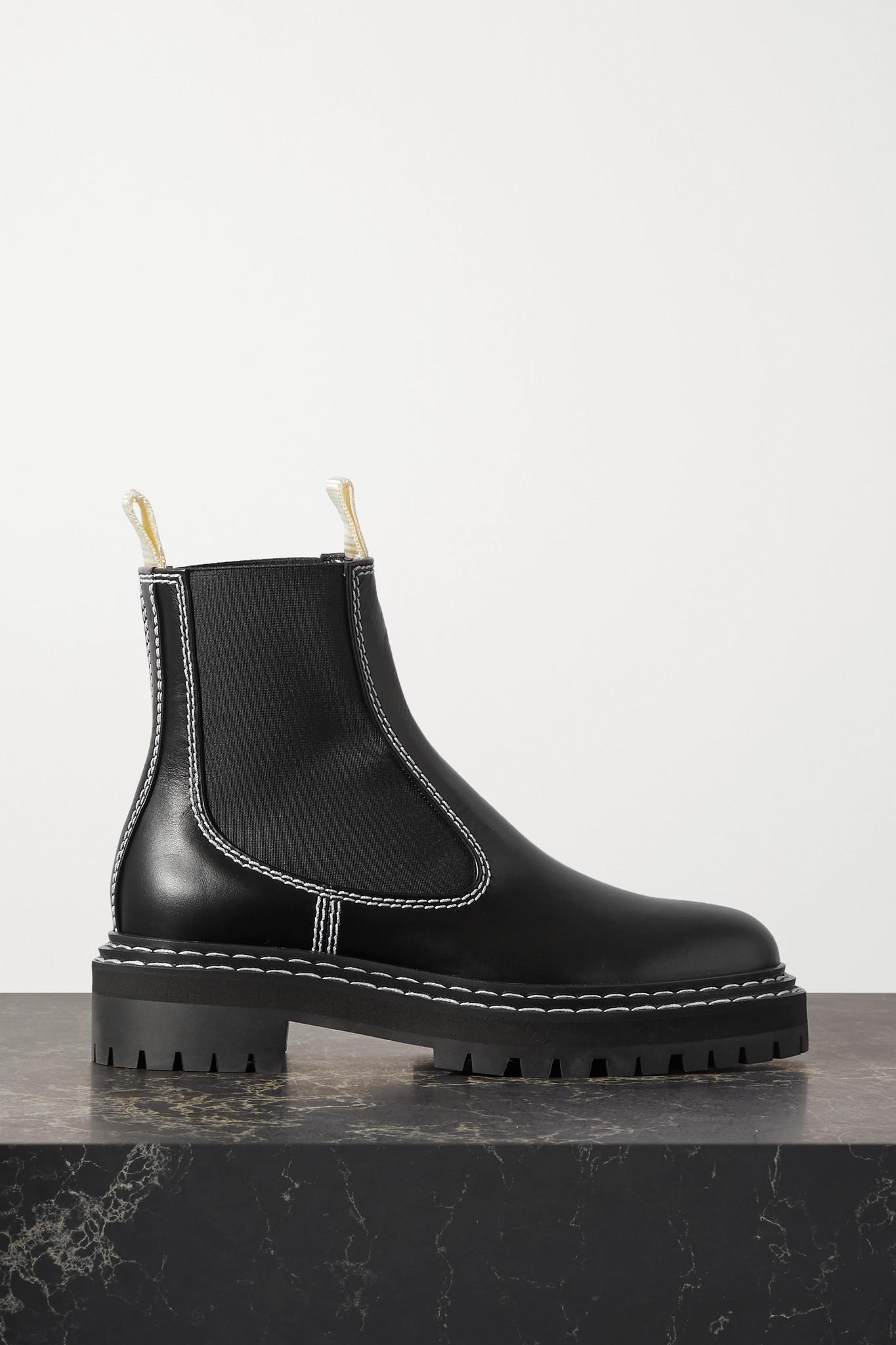 PROENZA SCHOULER - 明线细节皮革切尔西靴 - 黑色 - IT41