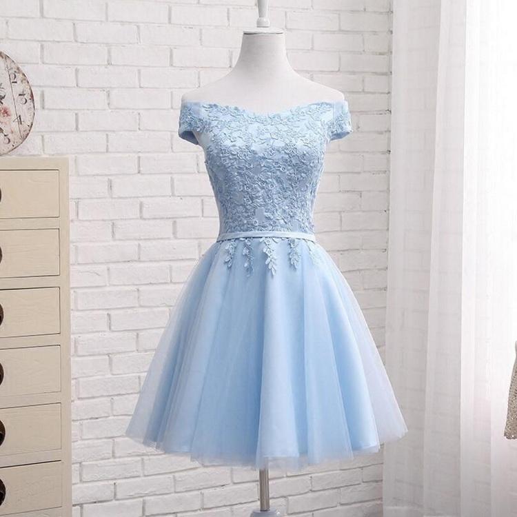 訂製系列 公主日系蕾絲雕花一字領收腰綁帶短款洋裝/伴娘服/小禮服 獨家設計 夢幻藍