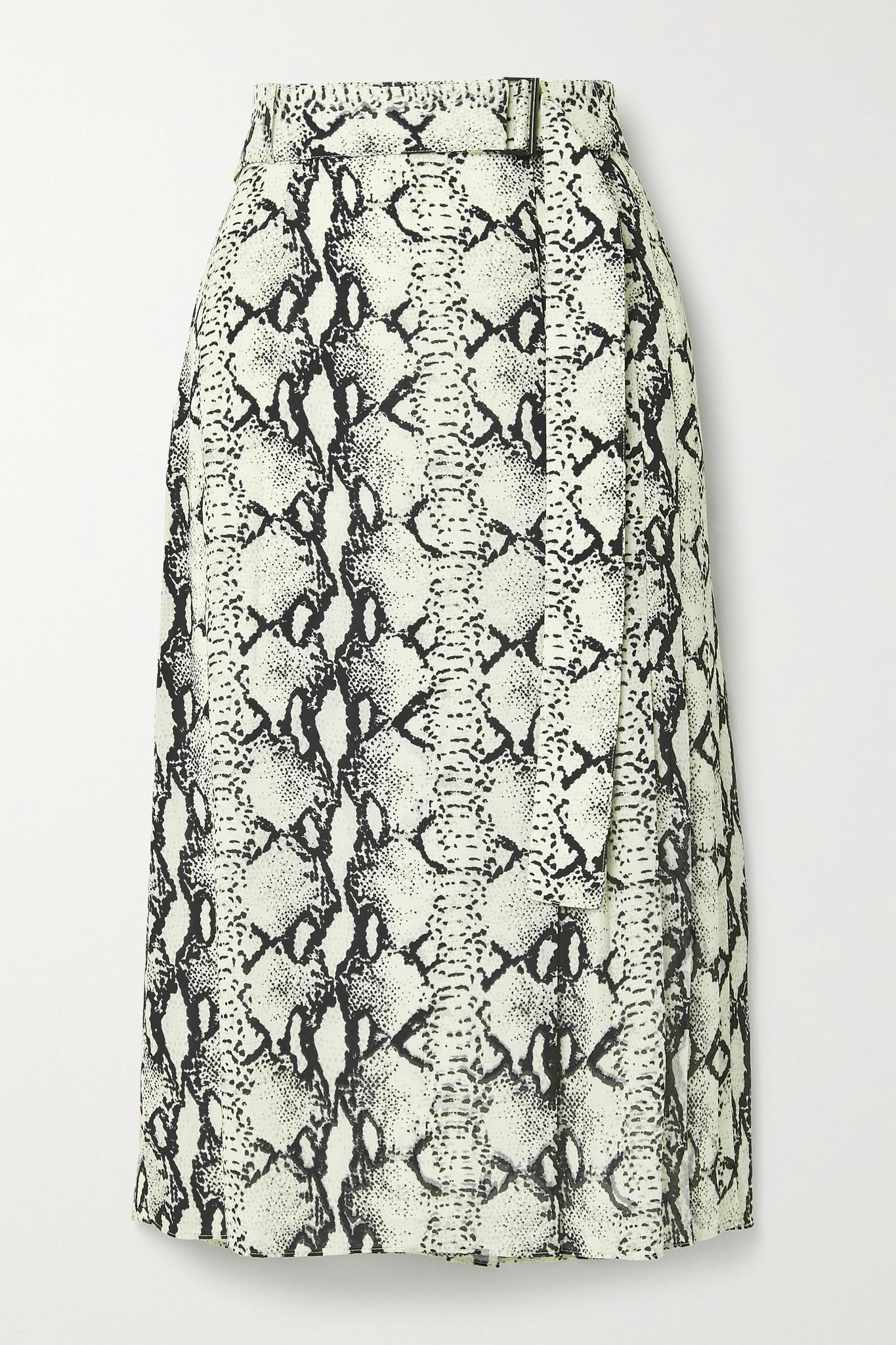 JASON WU - Belted Snake-print Crepe Midi Skirt - Neutrals - US2