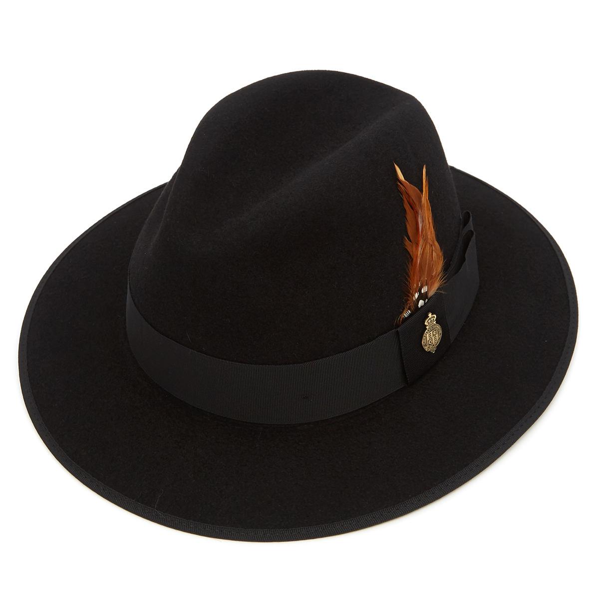 Farnham Down Brim Fur Felt Trilby Hat Black 55