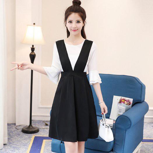 現貨黑色XL雪紡上衣背心裙吊帶裙二件式洋裝/15763/顯瘦背帶裙 胖胖美依
