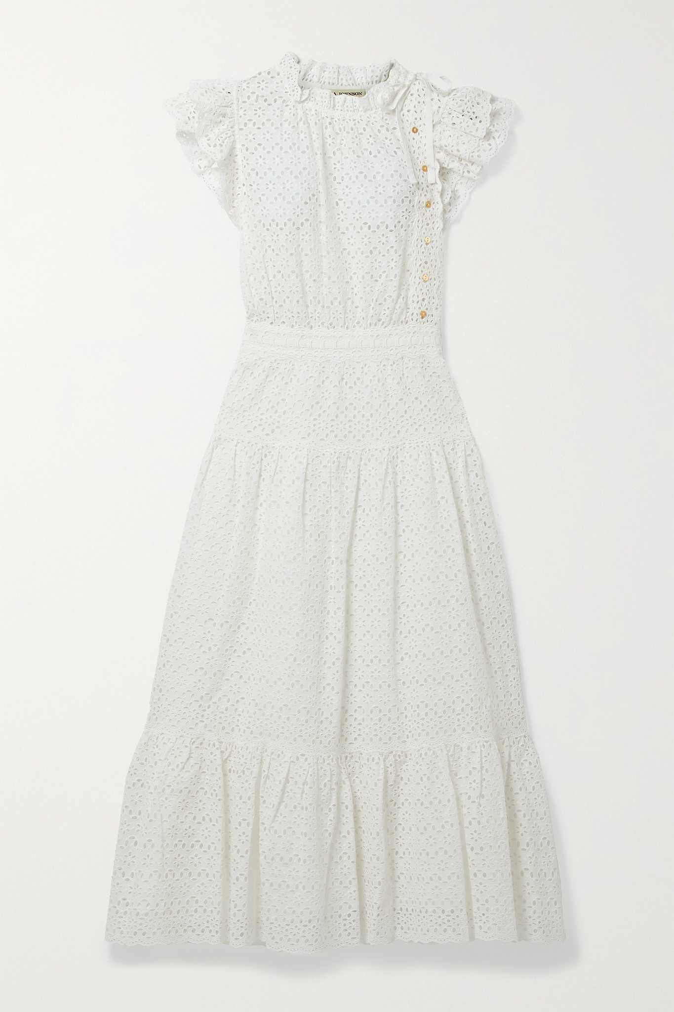ULLA JOHNSON - Lucille Tie-detailed Ruffled Broderie Anglaise Cotton Midi Dress - White - US6