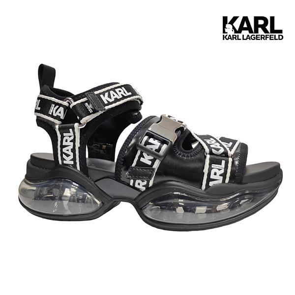 【KARL LAGERFELD】VENTURA 2 LOGO交叉氣墊涼鞋-黑