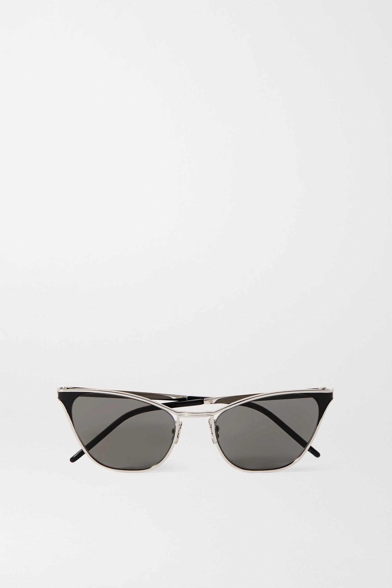 SAINT LAURENT - 板材银色金属猫眼太阳镜 - one size