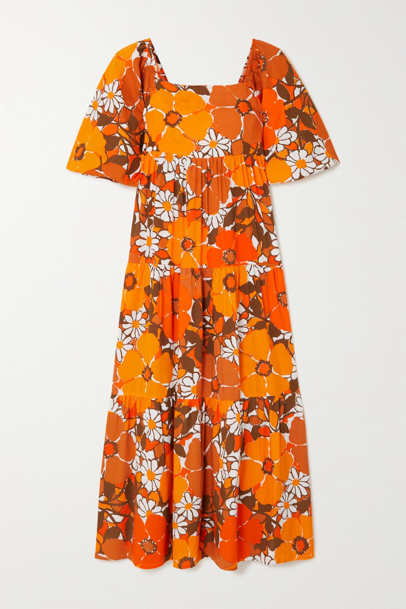 FAITHFULL THE BRAND - 【net Sustain】kiona 层接式纯棉府绸中长连衣裙 - 橙色 - medium