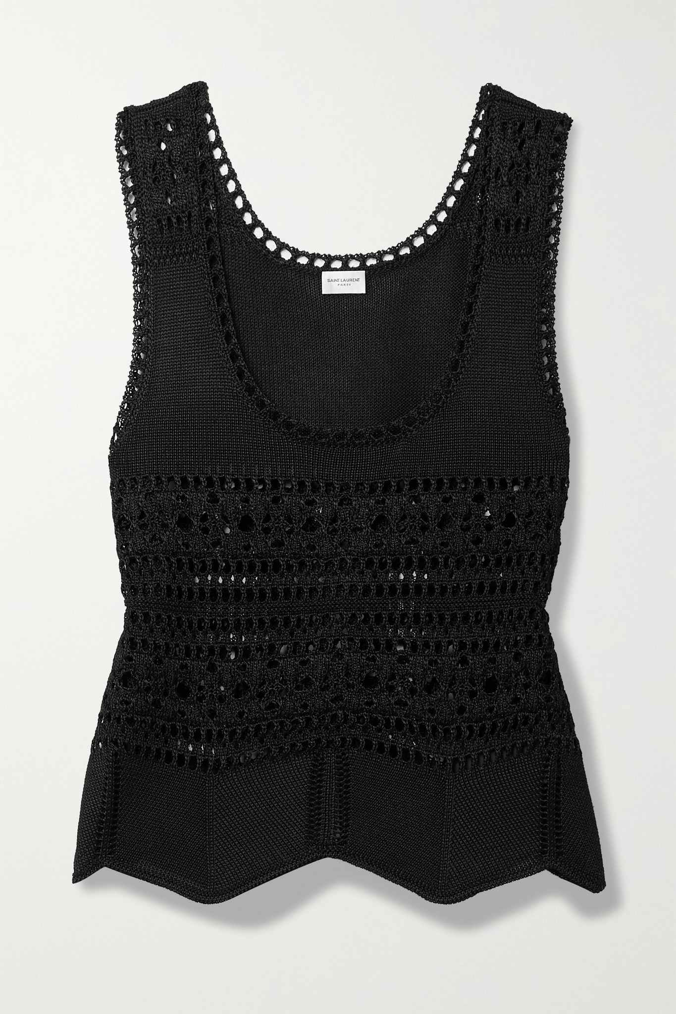 SAINT LAURENT - Crochet-knit Tank - Black - medium