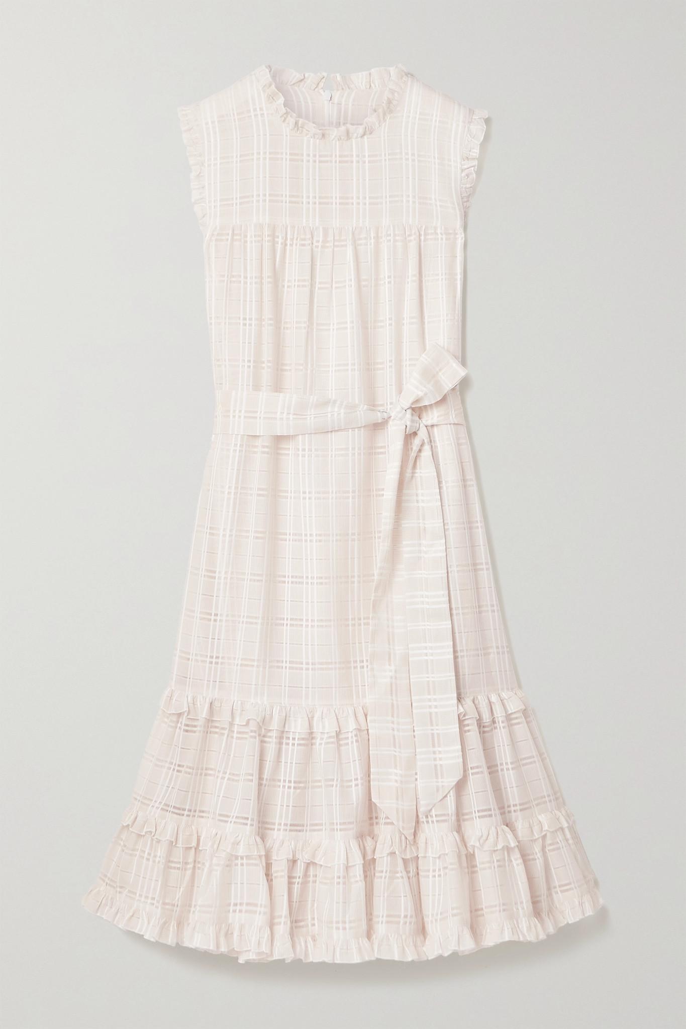 LISA MARIE FERNANDEZ - 【net Sustain】配腰带荷叶边格纹棉质混纺提花中长连衣裙 - 中性色 - 2