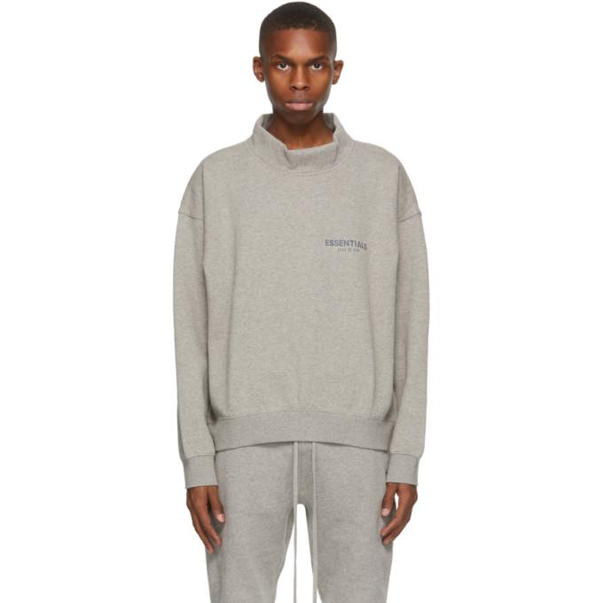 Essentials 灰色小高领徽标套头衫