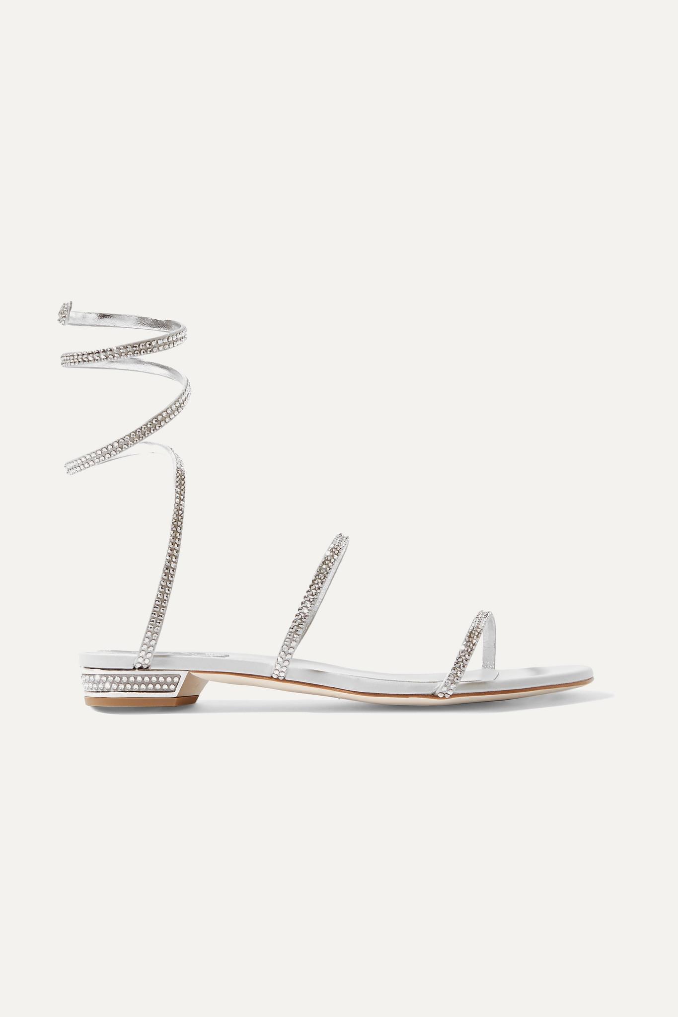 RENÉ CAOVILLA - Cleo 水晶缀饰金属感皮革凉鞋 - 银色 - IT39