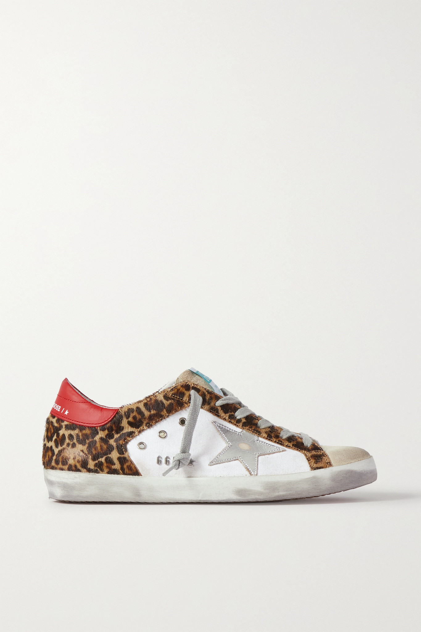GOLDEN GOOSE - Superstar Distressed Leopard-print Calf Hair, Leather And Suede Sneakers - White - IT