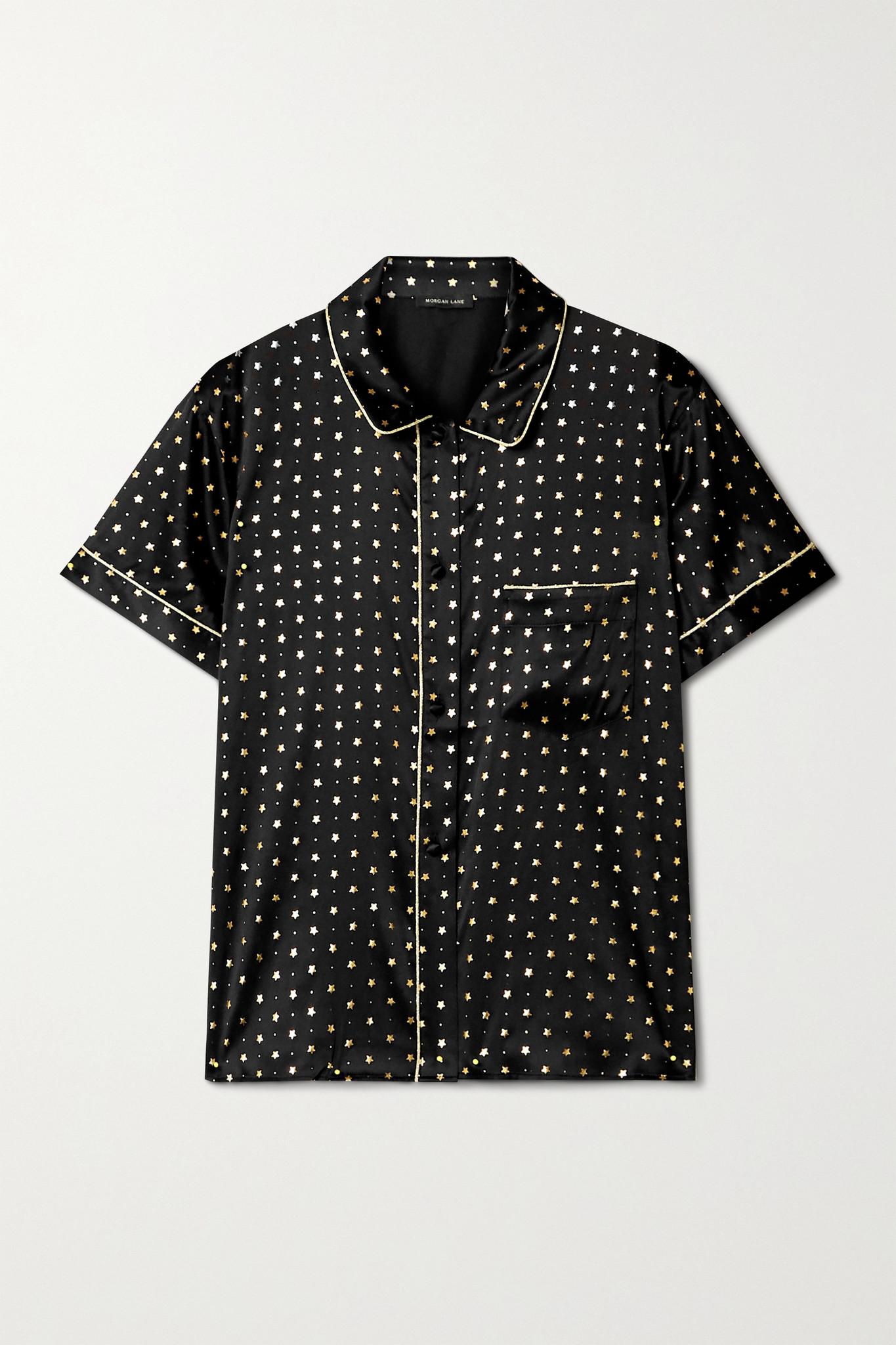 MORGAN LANE - Tami Metallic-trimmed Printed Silk-blend Satin Pajama Shirt - Black - x small