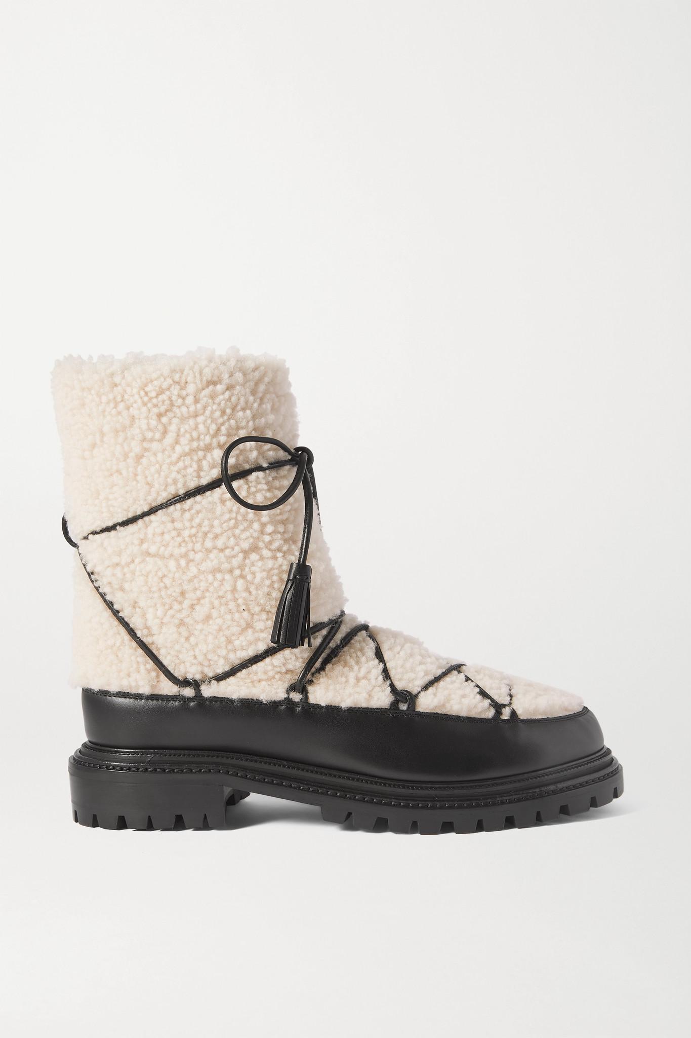 AQUAZZURA - Very Aspen 羊毛皮皮革踝靴 - 白色 - IT36