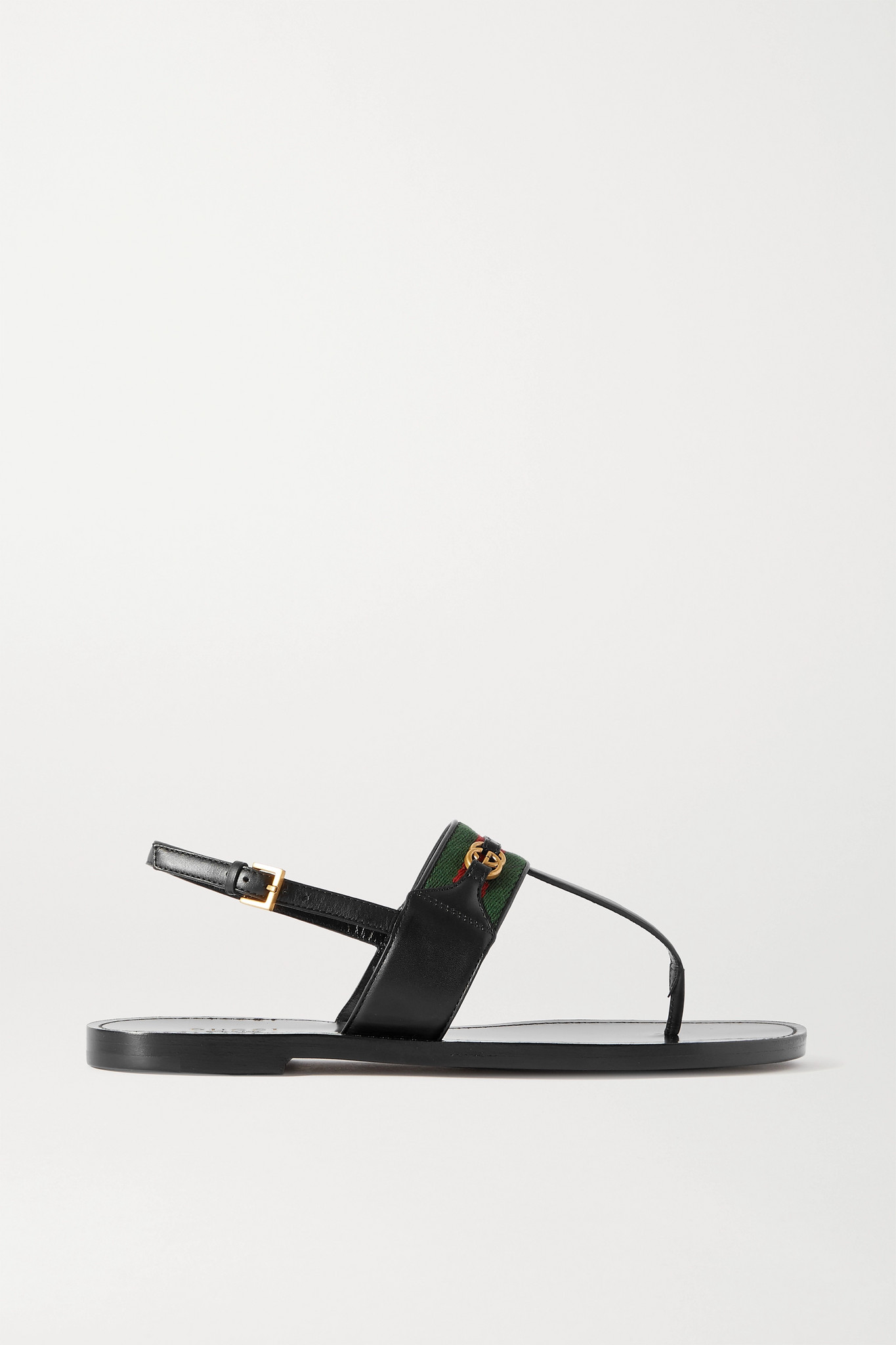 GUCCI - Siryo Embellished Webbing-trimmed Leather Sandals - Black - IT37.5