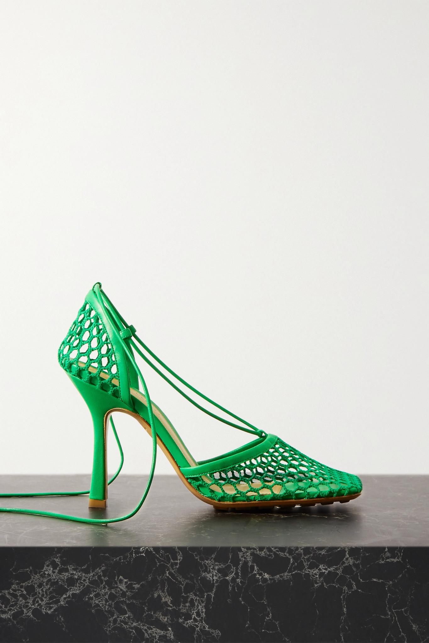 BOTTEGA VENETA - 绑带式皮革边饰网布高跟鞋 - 绿色 - IT38