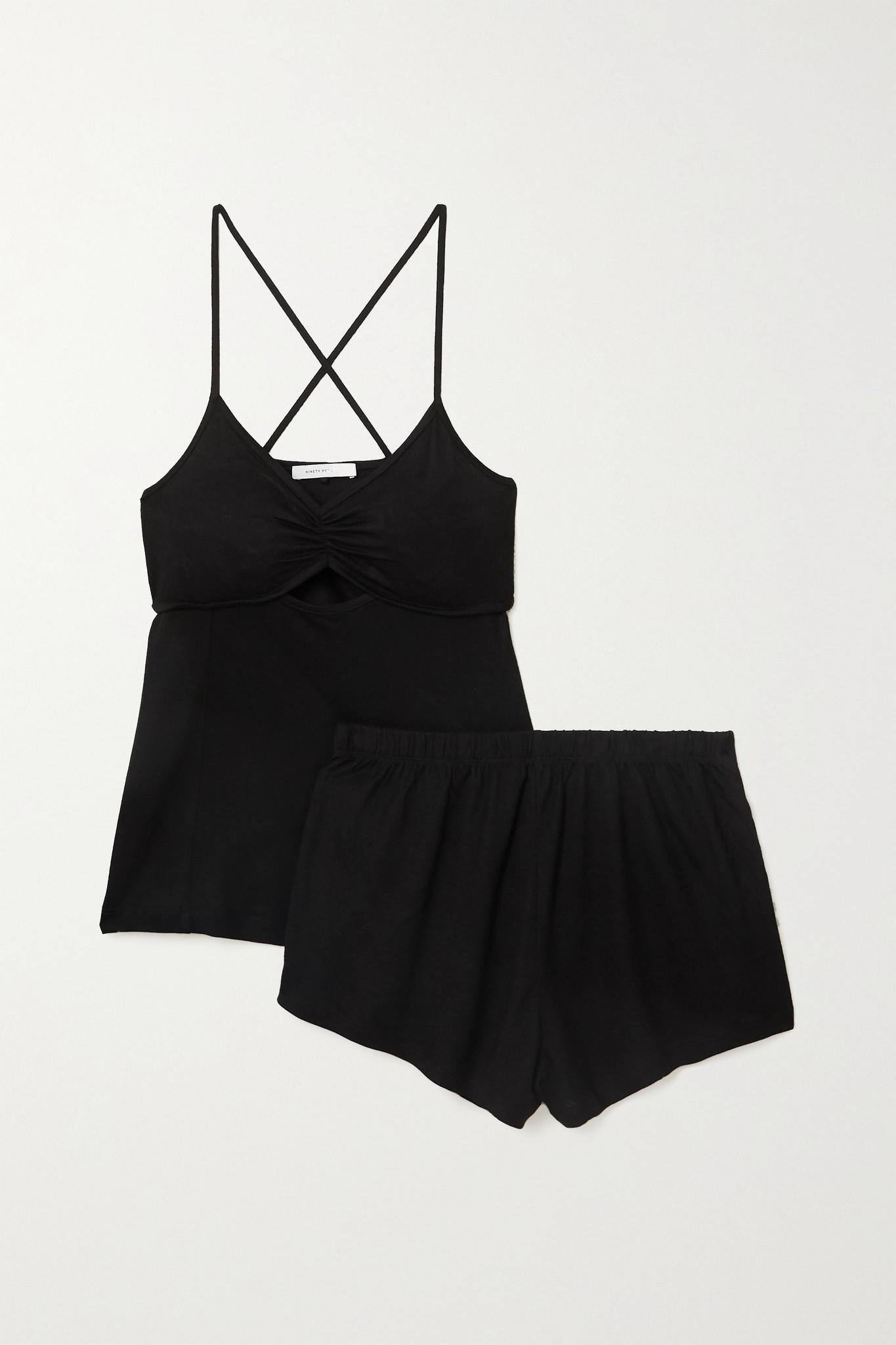 NINETY PERCENT - + Net Sustain Brushed-tencel Pajama Set - Black - xx small