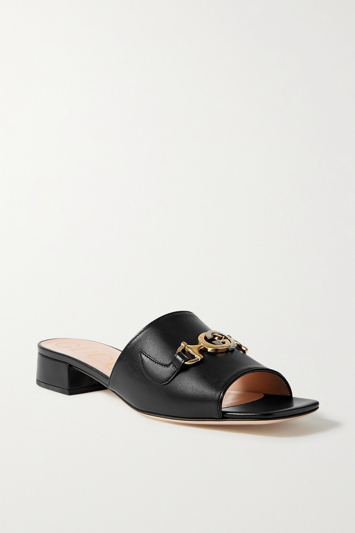 GUCCI - Zumi Embellished Leather Mules - Black - IT34