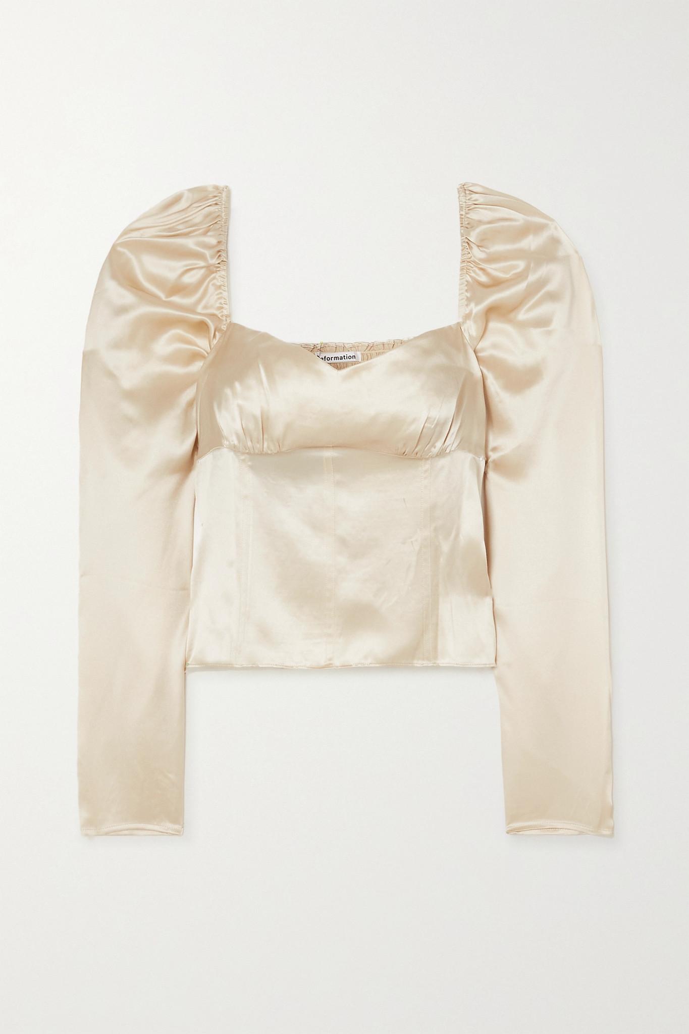 REFORMATION - Roe 平行绉缝丝缎上衣 - 象牙色 - US6