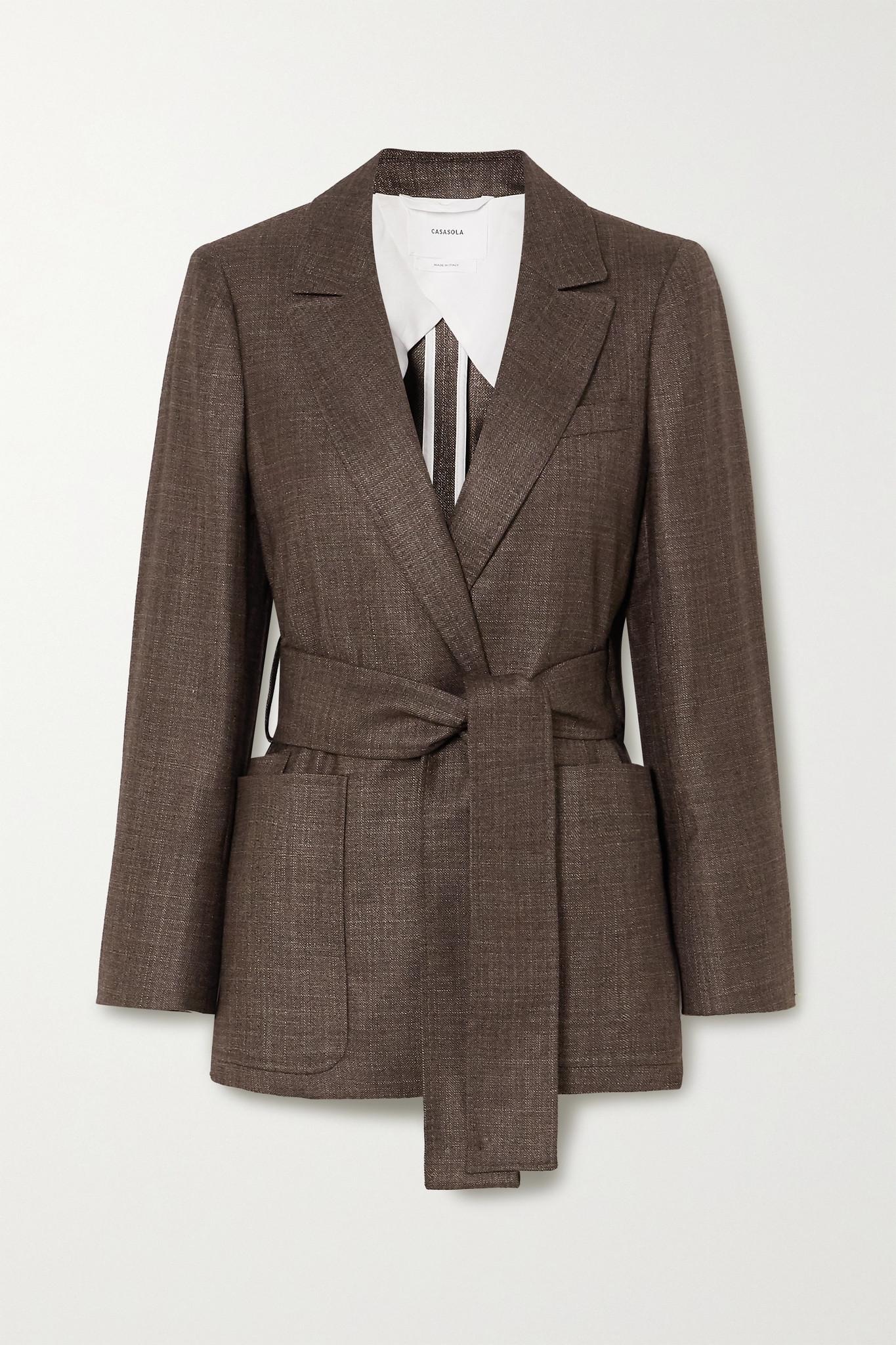 CASASOLA - 【net Sustain】giorgio 配腰带针织羊绒混纺西装外套 - 灰色 - IT36