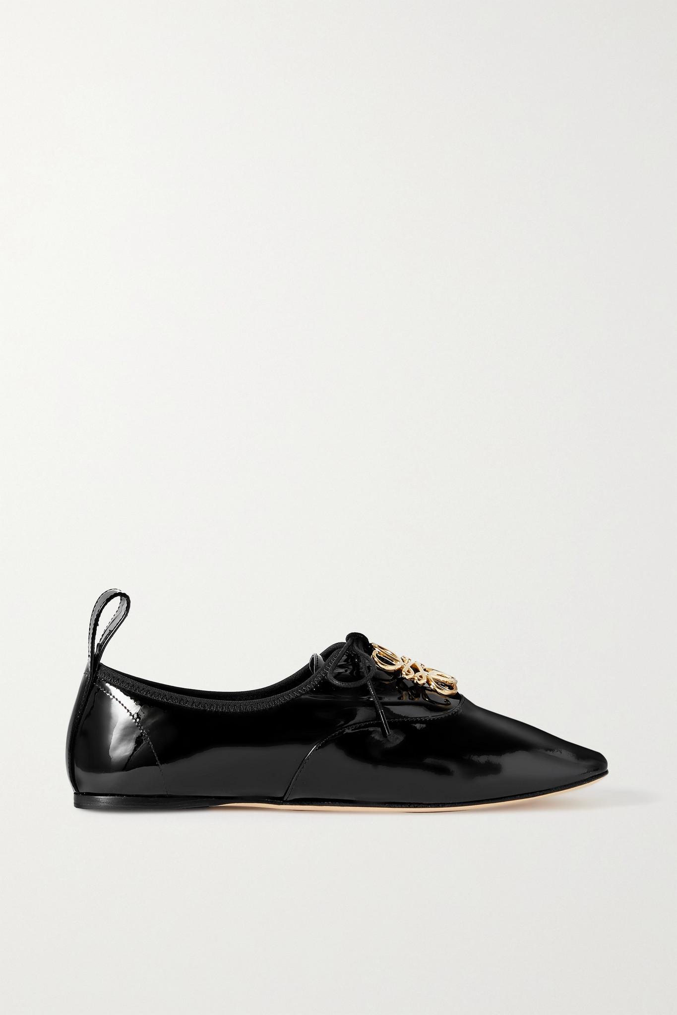 LOEWE - 品牌标志缀饰漆皮芭蕾平底鞋 - 黑色 - IT41