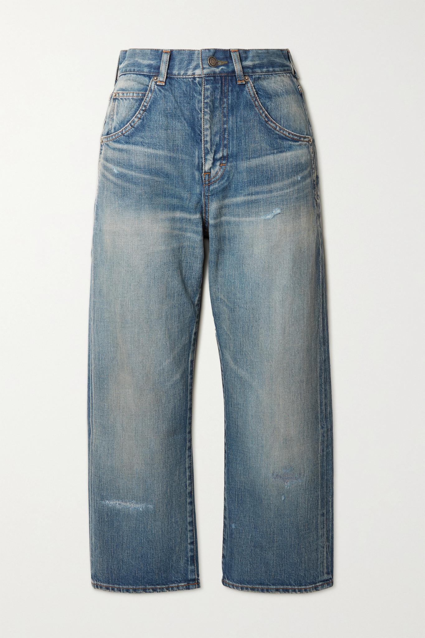 SAINT LAURENT - Cropped High-rise Straight-leg Jeans - Blue - 24