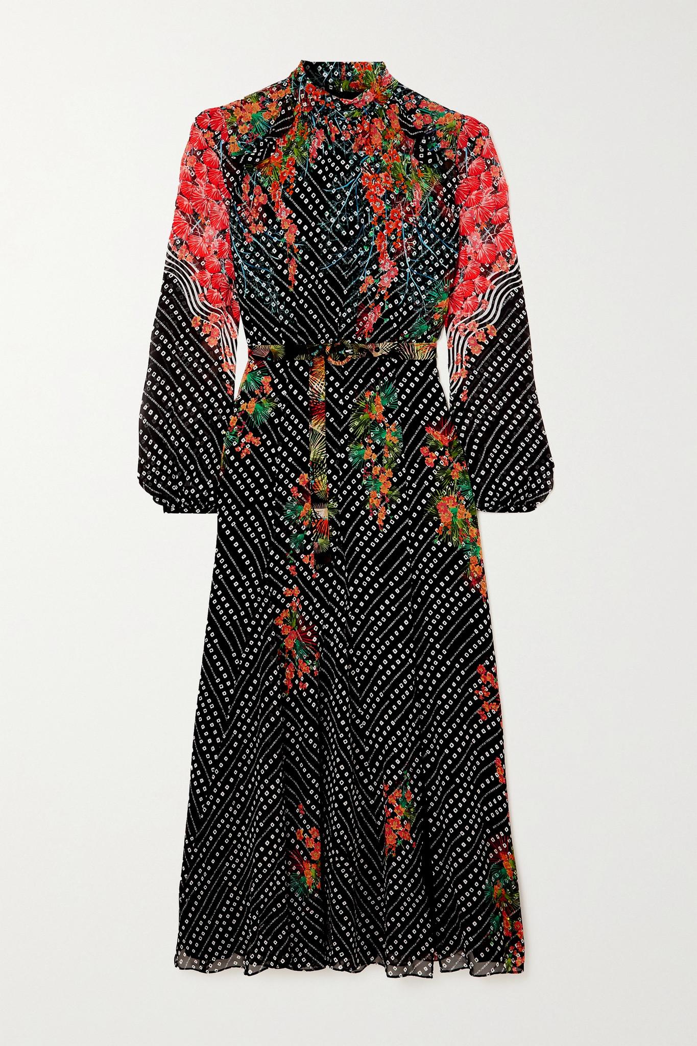 SALONI - Jacqui-b Belted Printed Silk-georgette Midi Dress - Blue - UK8