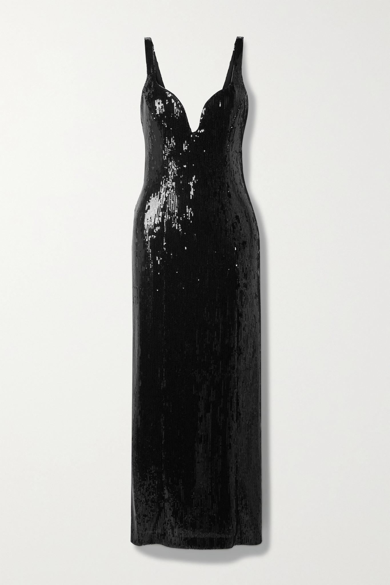 GALVAN - Savannah Sequined Tulle Maxi Dress - Black - FR38
