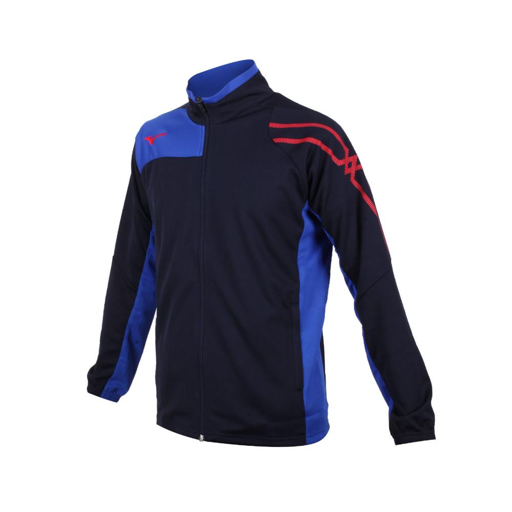 mizuno 男針織立領外套-吸濕排汗 抗uv 慢跑 運動 美津濃 丈青藍紅
