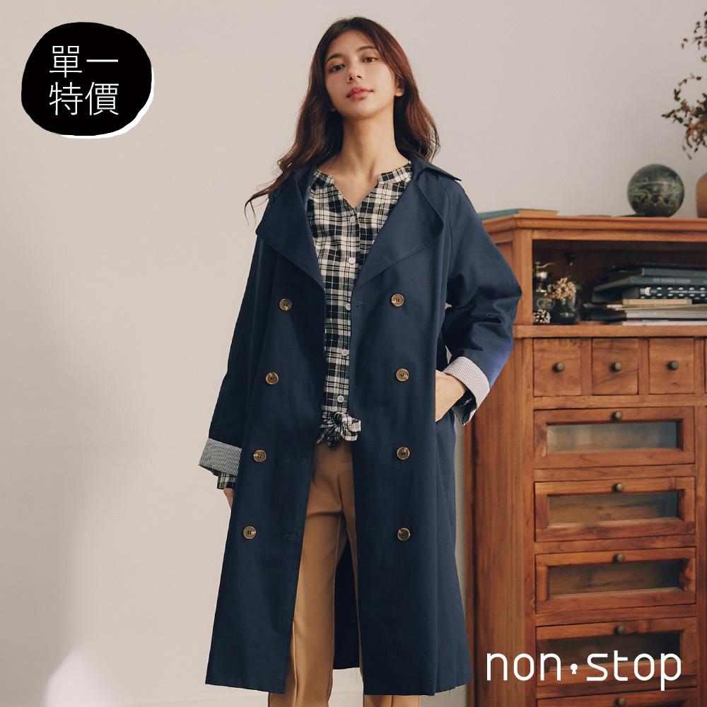 non-stop 質感雙排釦綁帶長版外套-2色