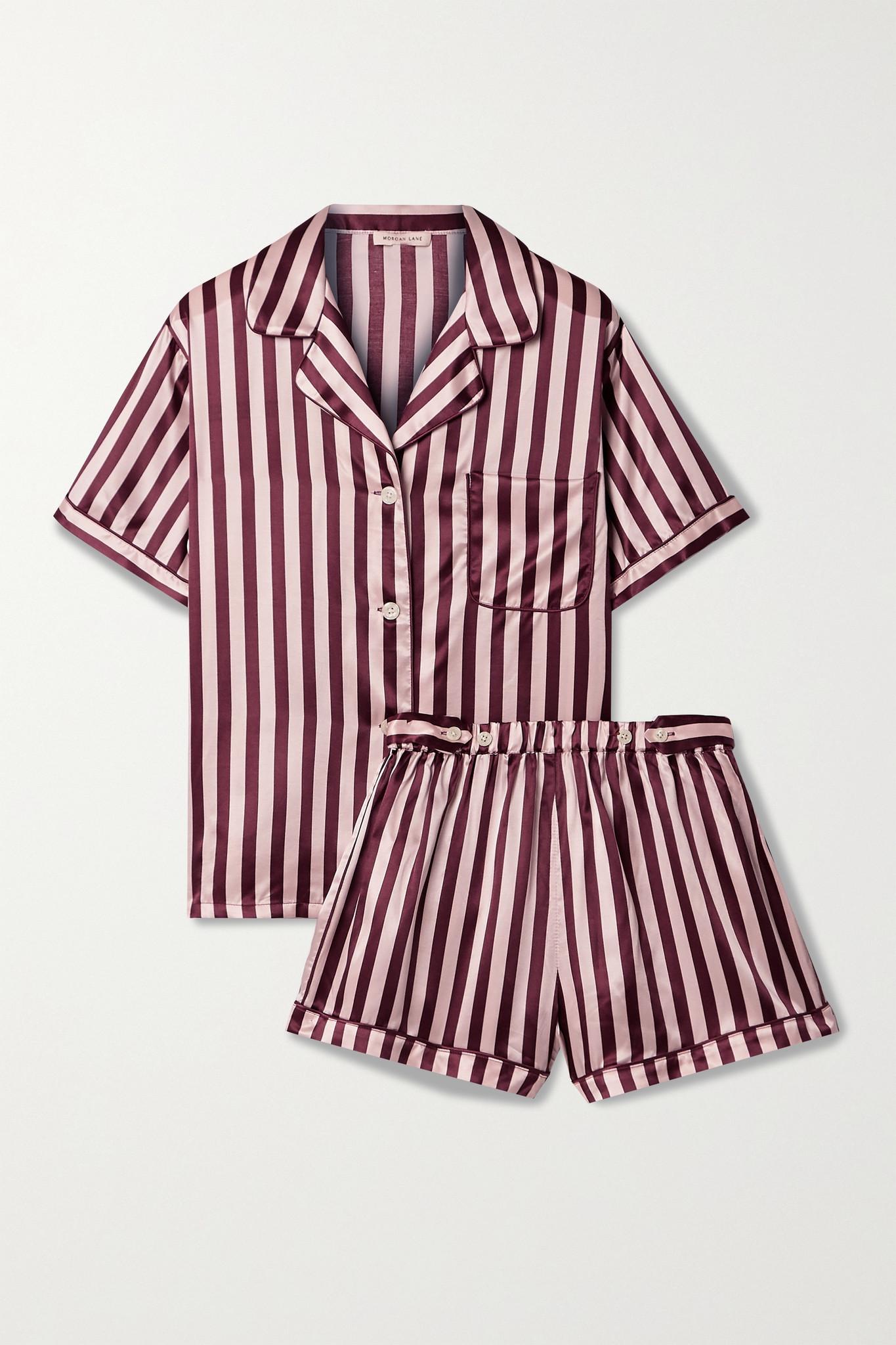 MORGAN LANE - Katelyn Corey Striped Satin Pajama Set - Purple - x small