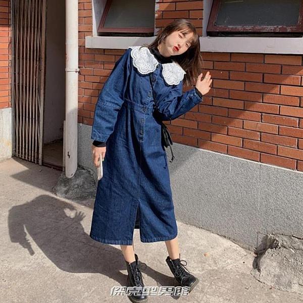 【快出】牛仔裙娃娃領牛仔洋裝女2021春季新款韓版氣質收腰顯瘦中長款內搭裙子