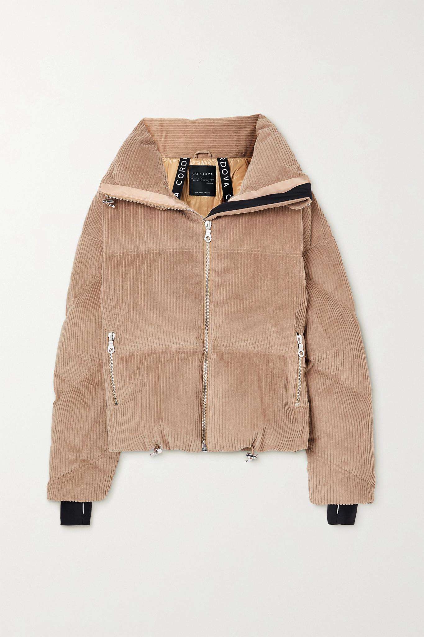 CORDOVA - Mont Blanc 绗缝灯芯绒连帽羽绒夹克 - 棕色 - medium