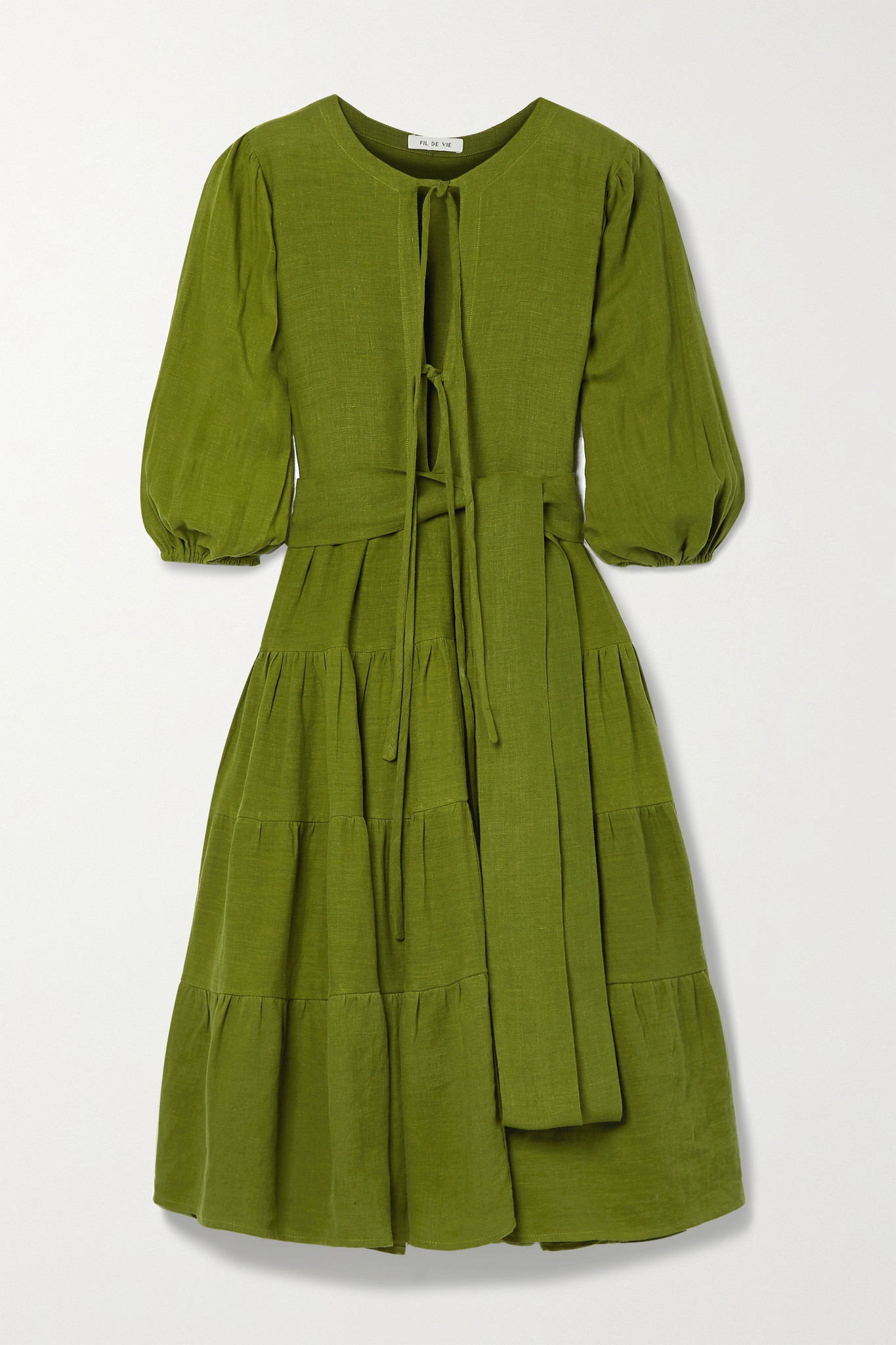 FIL DE VIE - 【net Sustain】medina 配腰带层接式亚麻中长连衣裙 - 绿色 - medium