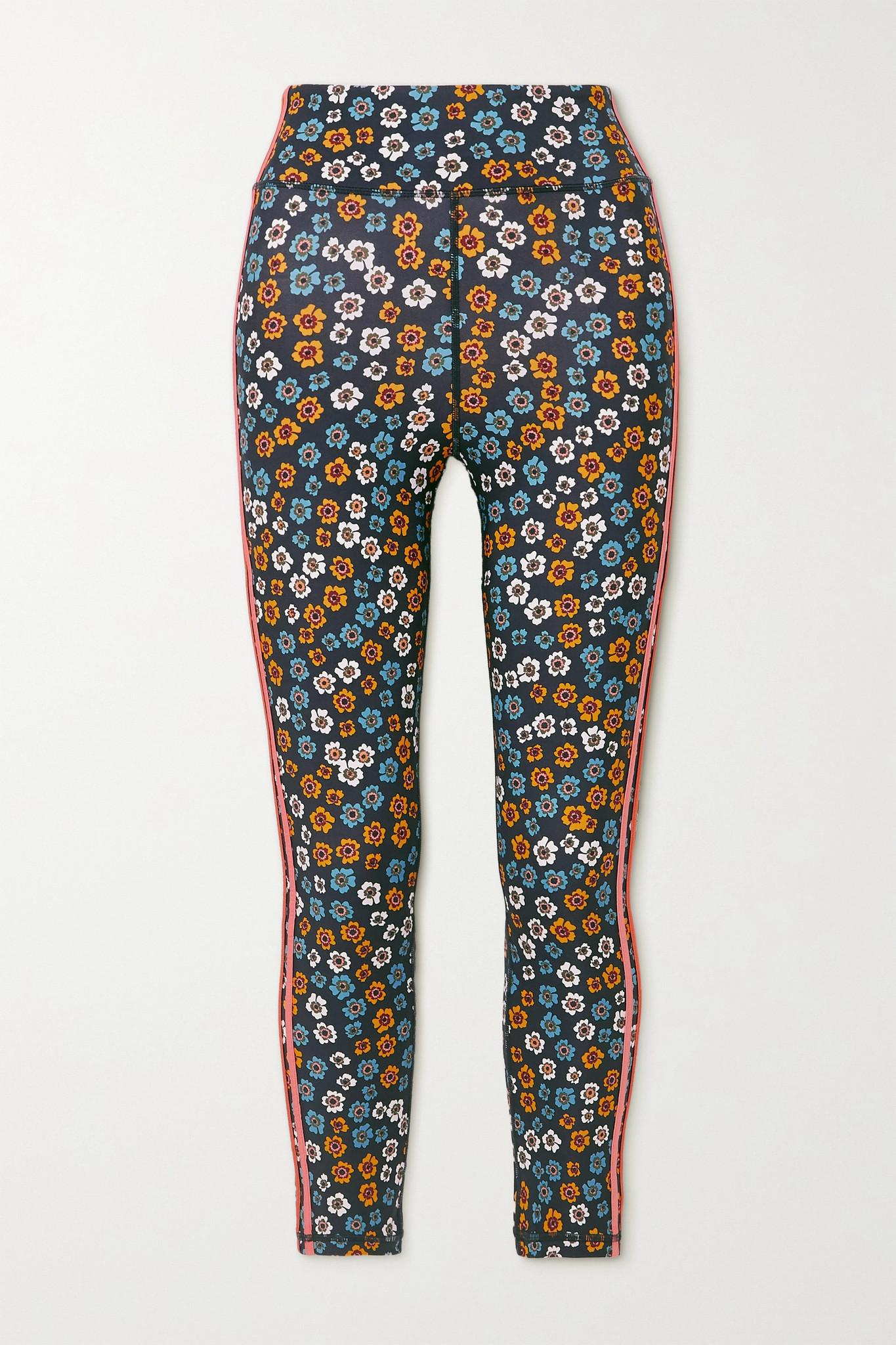 THE UPSIDE - Atacama Dance Striped Floral-print Stretch Leggings - Blue - medium