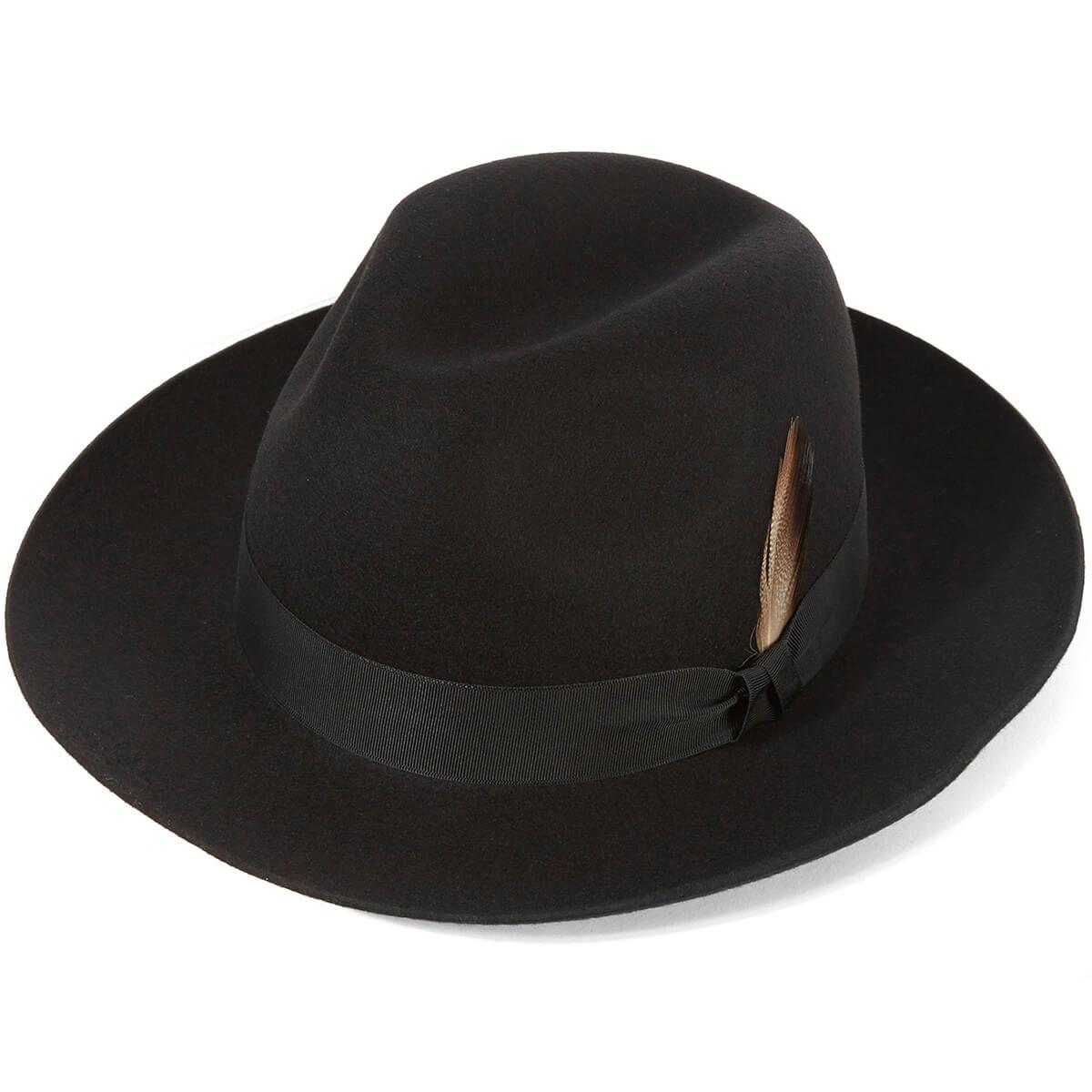 Grosvenor Fedora Hat - Black in size 58