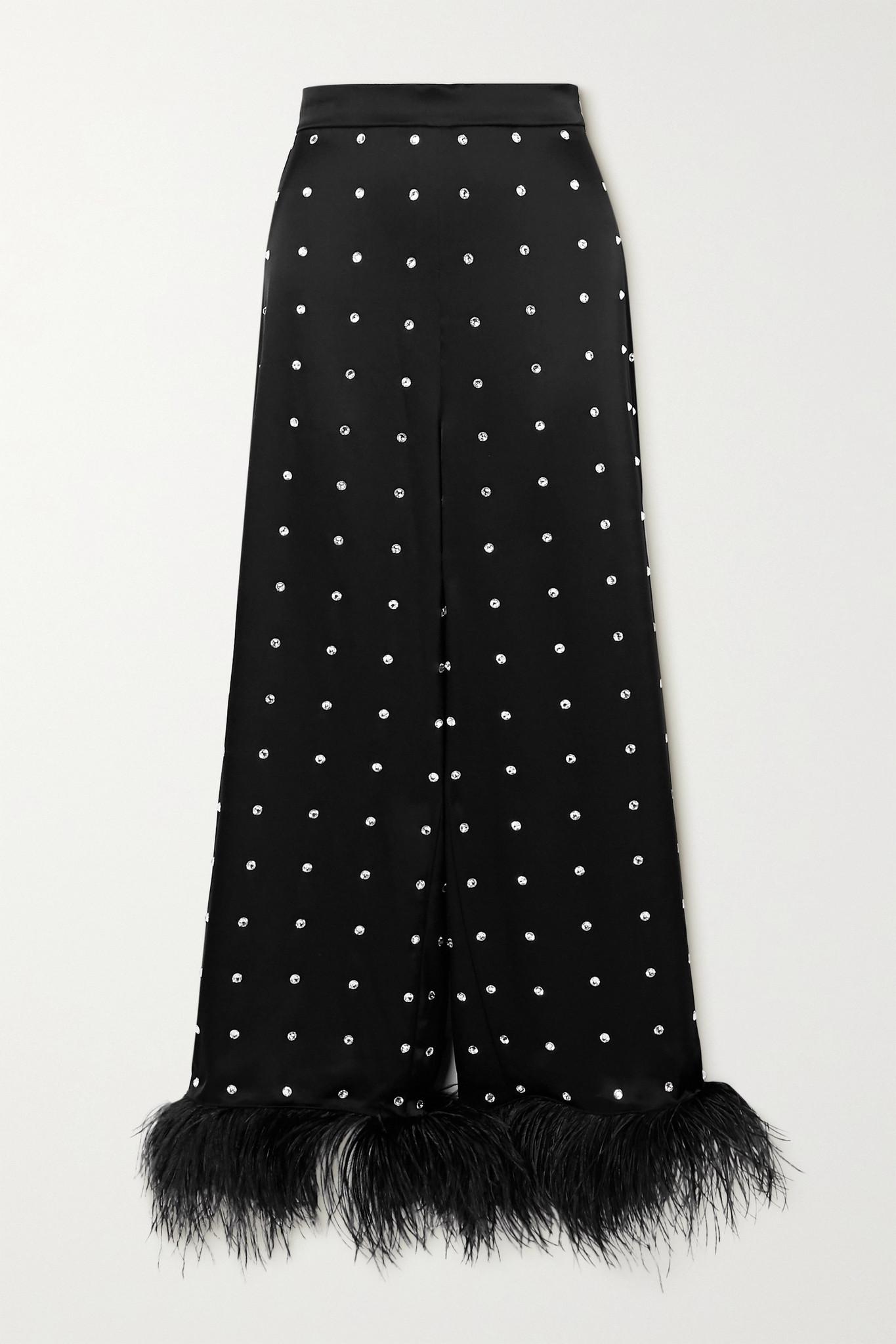 DAVID KOMA - Cropped Feather-trimmed Crystal-embellished Satin Wide-leg Pants - Black - UK8