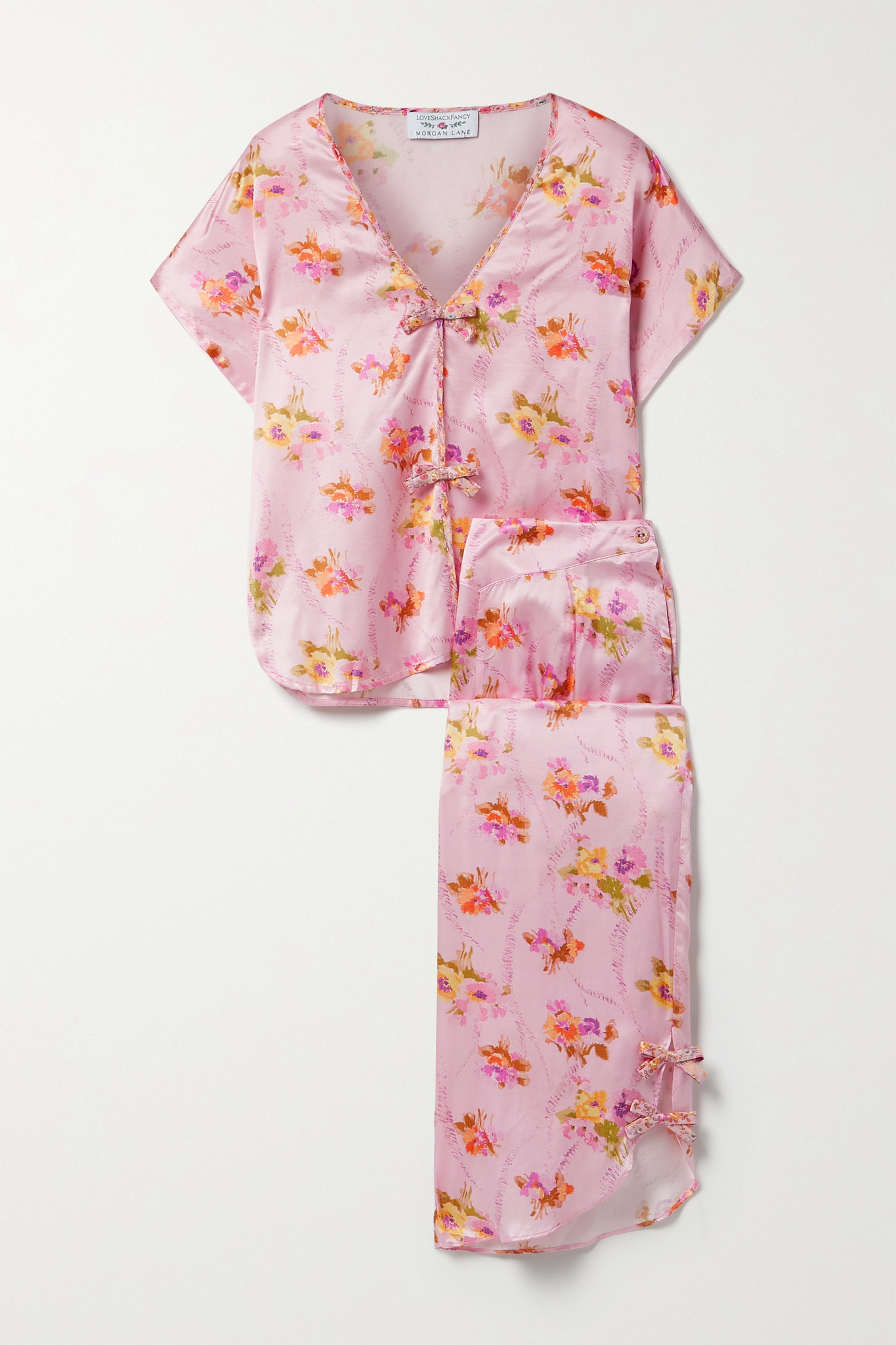 MORGAN LANE - + Loveshackfancy Joanie Margo Floral-print Satin Pajama Set - Pink - medium