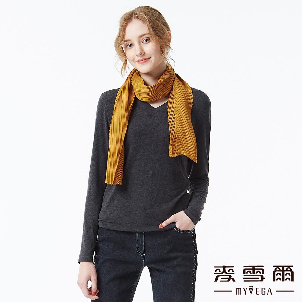 【麥雪爾】台灣素材V領發熱衣-鐵灰