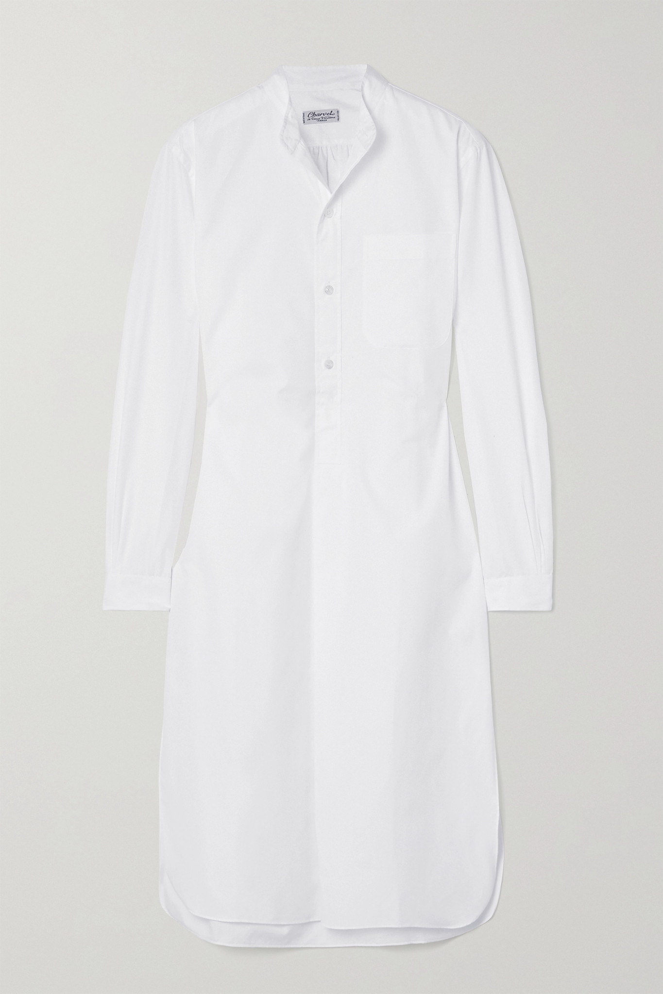 CHARVET - Elysee 大廓形纯棉府绸睡裙 - 白色 - small