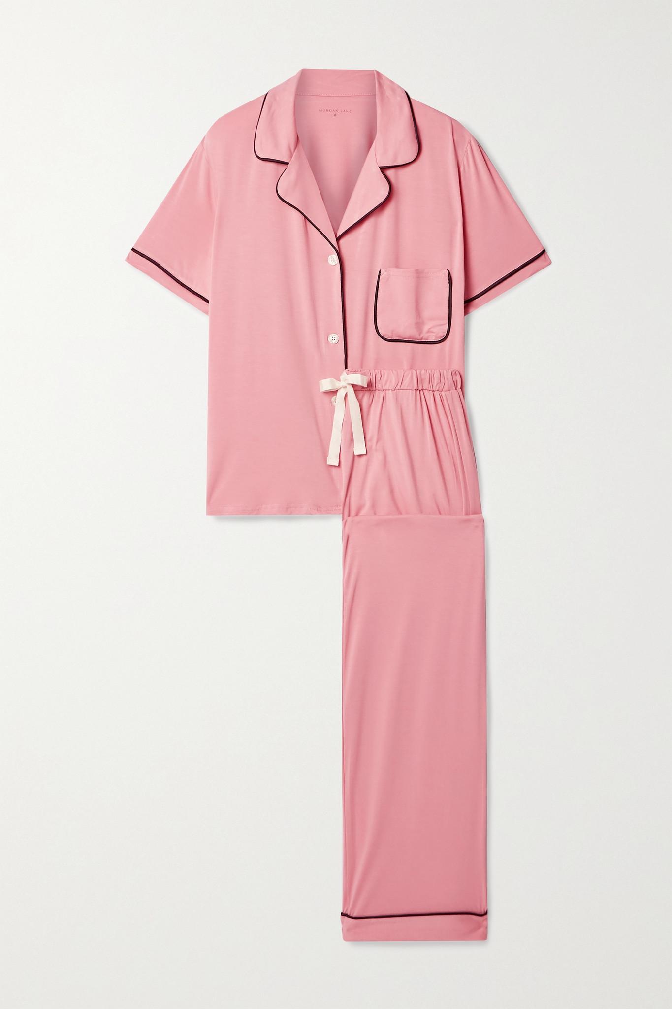 MORGAN LANE - Katelyn Chantal Piped Stretch-jersey Pajama Set - Pink - x small