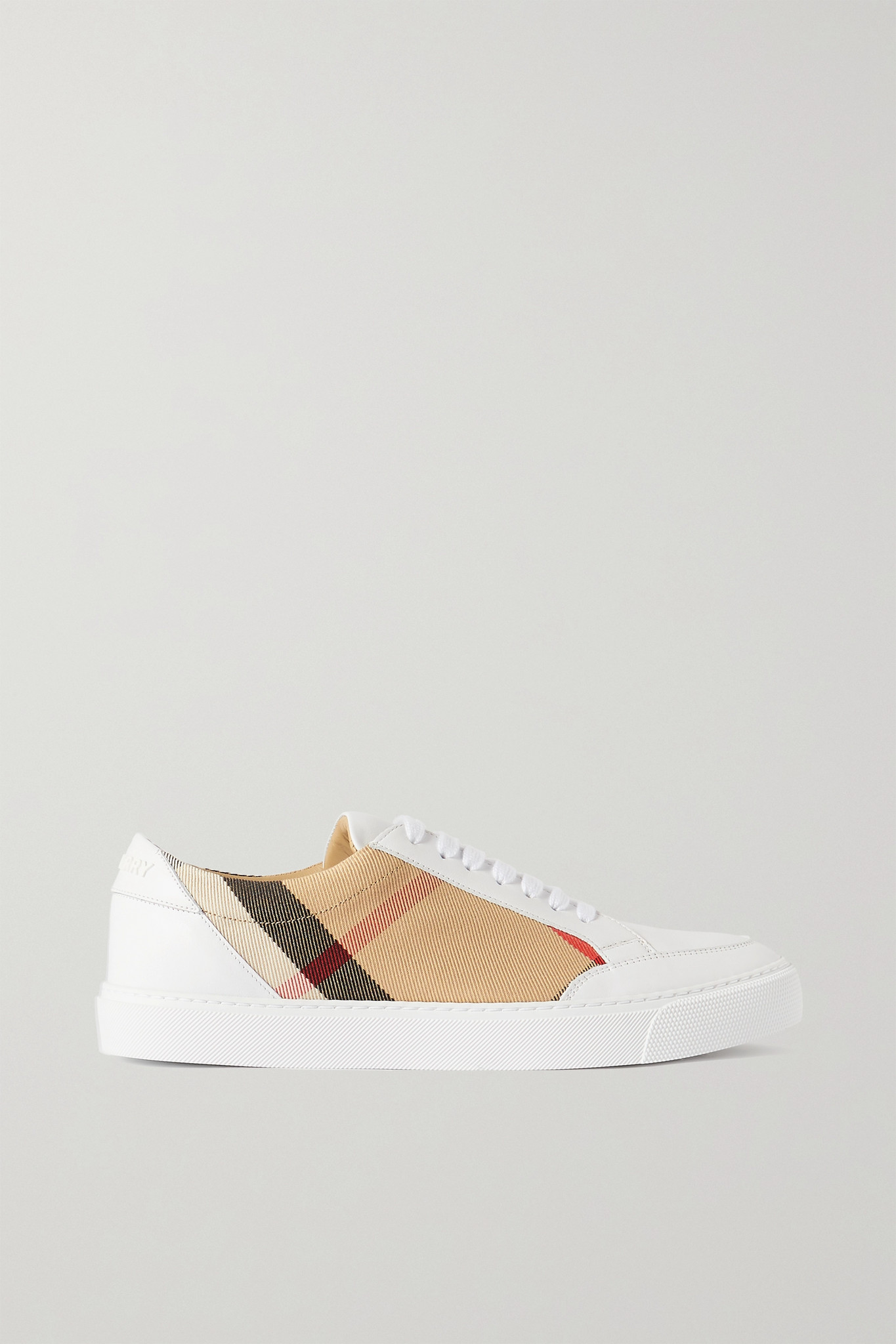 BURBERRY - Checked Canvas And Leather Sneakers - Neutrals - IT36